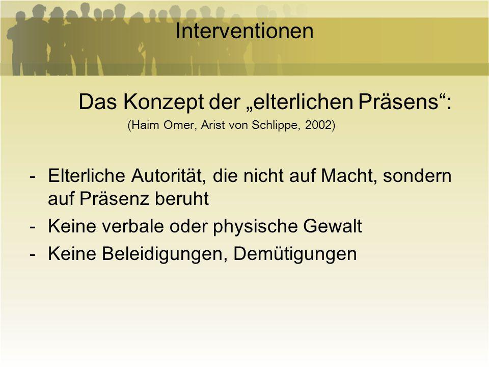 Interventionen Das Konzept der elterlichen Präsens: (Haim Omer, Arist von Schlippe, 2002) -Elterliche Autorität, die nicht auf Macht, sondern auf Präs