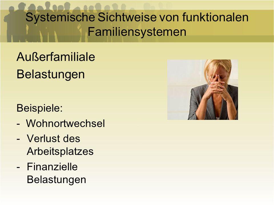 Systemische Sichtweise von funktionalen Familiensystemen Außerfamiliale Belastungen Beispiele: - Wohnortwechsel -Verlust des Arbeitsplatzes -Finanziel