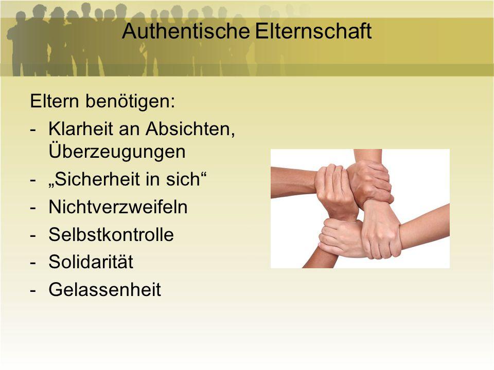 Authentische Elternschaft Eltern benötigen: -Klarheit an Absichten, Überzeugungen -Sicherheit in sich -Nichtverzweifeln -Selbstkontrolle -Solidarität