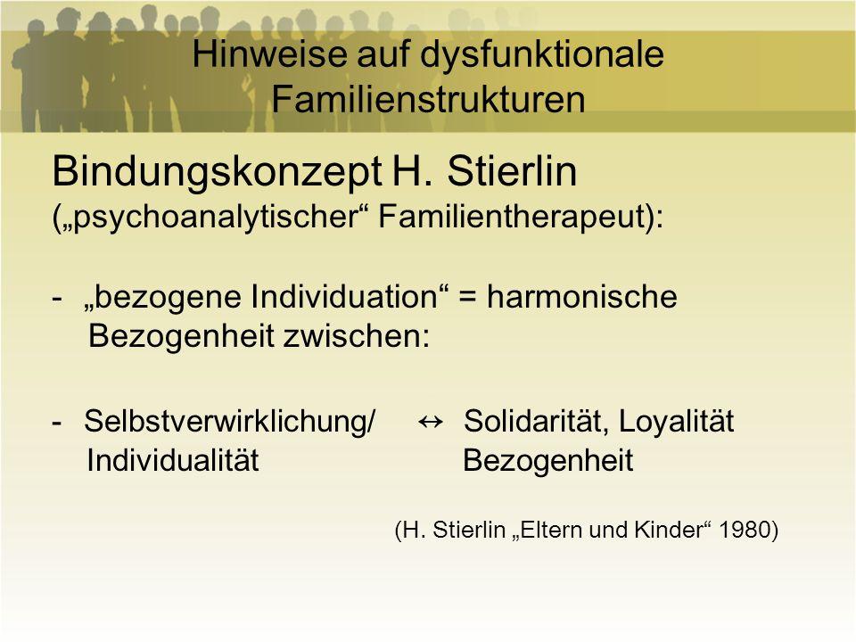 Hinweise auf dysfunktionale Familienstrukturen Bindungskonzept H. Stierlin (psychoanalytischer Familientherapeut): -bezogene Individuation = harmonisc