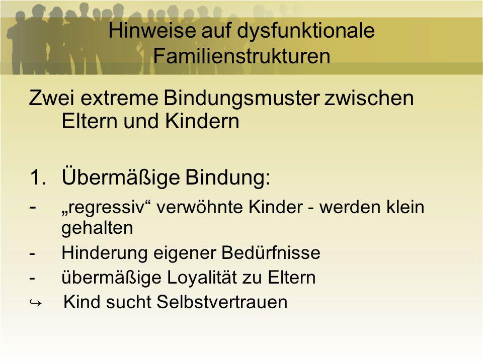 Hinweise auf dysfunktionale Familienstrukturen 2.