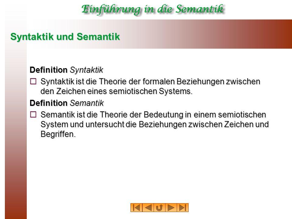 Syntaktik und Semantik Definition Syntaktik Syntaktik ist die Theorie der formalen Beziehungen zwischen den Zeichen eines semiotischen Systems. Syntak
