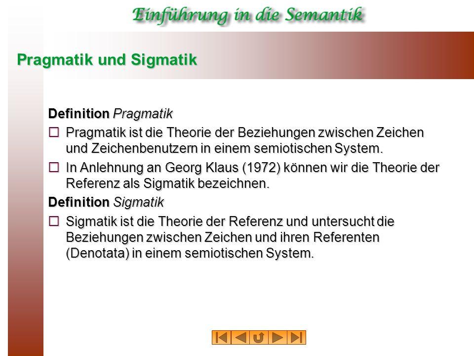Pragmatik und Sigmatik Definition Pragmatik Pragmatik ist die Theorie der Beziehungen zwischen Zeichen und Zeichenbenutzern in einem semiotischen Syst