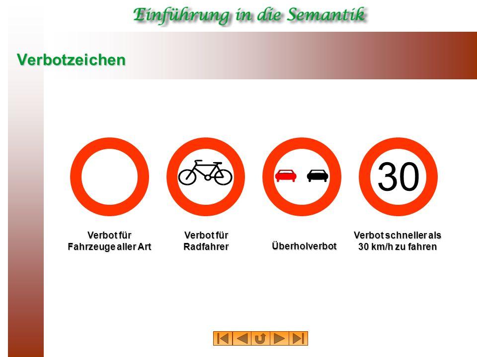 Verbotzeichen Verbot für Fahrzeuge aller Art Überholverbot Verbot für Radfahrer Verbot schneller als 30 km/h zu fahren 30
