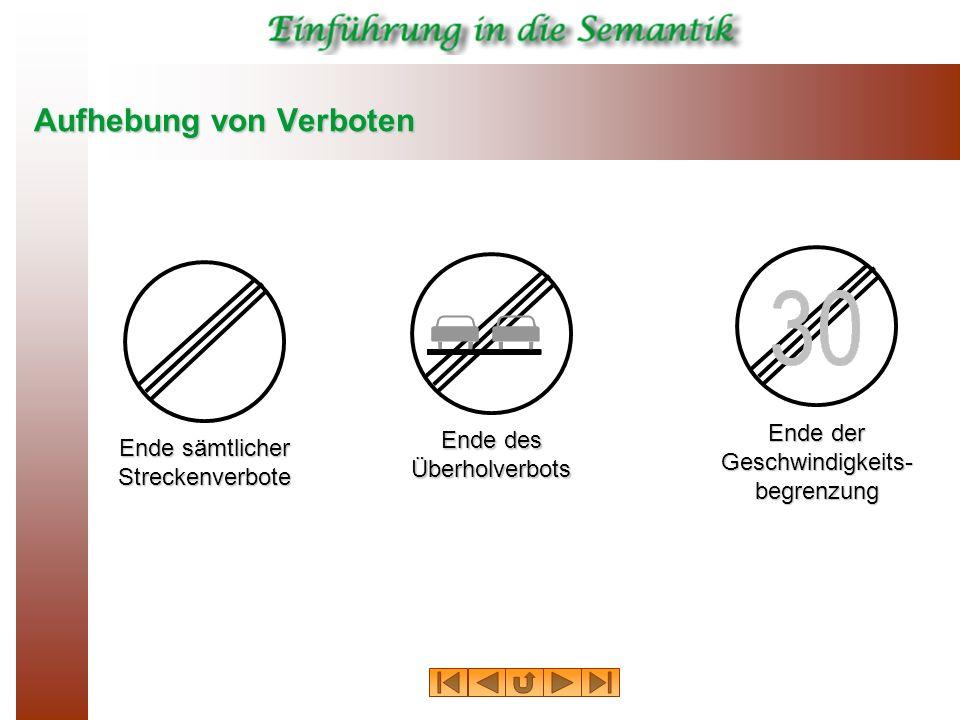 Aufhebung von Verboten Ende des Überholverbots Ende sämtlicher Streckenverbote Ende der Geschwindigkeits- begrenzung