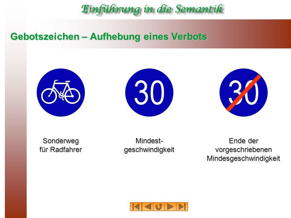 Gebotszeichen – Aufhebung eines Verbots Sonderweg für Radfahrer Mindest- geschwindigkeit Ende der vorgeschriebenen Mindesgeschwindigkeit