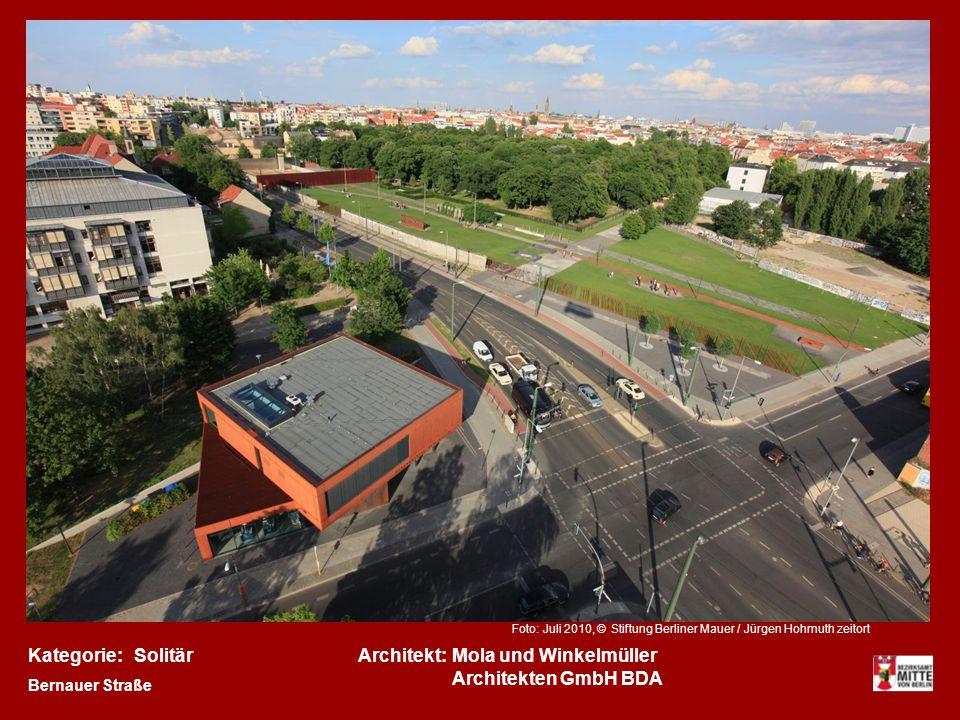 Kategorie:Architekt:SolitärMola und Winkelmüller Architekten GmbH BDA Bernauer Straße Foto: Juli 2010, © Stiftung Berliner Mauer / Jürgen Hohmuth zeitort