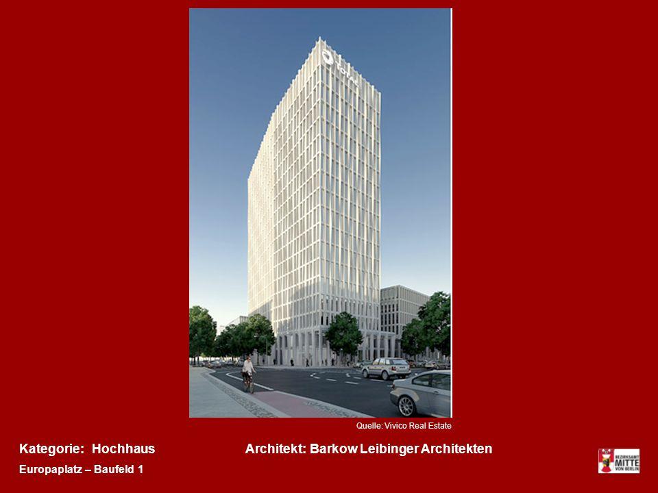 Kategorie:Architekt:HochhausBarkow Leibinger Architekten Europaplatz – Baufeld 1 Quelle: Vivico Real Estate
