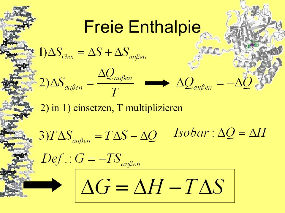 Freie Enthalpie 2) in 1) einsetzen, T multiplizieren