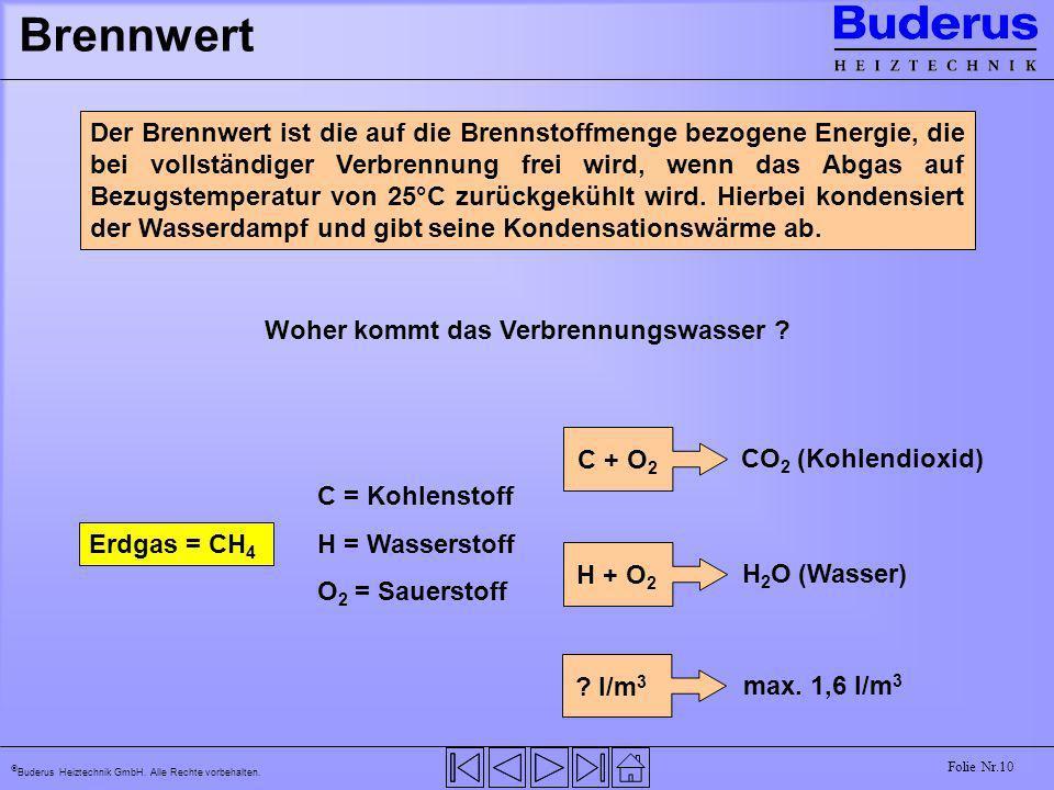 Buderus Heiztechnik GmbH. Alle Rechte vorbehalten. Folie Nr.10 Brennwert Der Brennwert ist die auf die Brennstoffmenge bezogene Energie, die bei volls