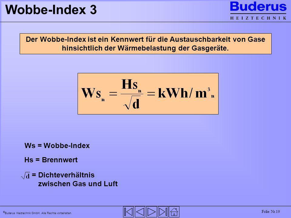 Buderus Heiztechnik GmbH. Alle Rechte vorbehalten. Folie Nr.19 Wobbe-Index 3 Der Wobbe-Index ist ein Kennwert für die Austauschbarkeit von Gase hinsic