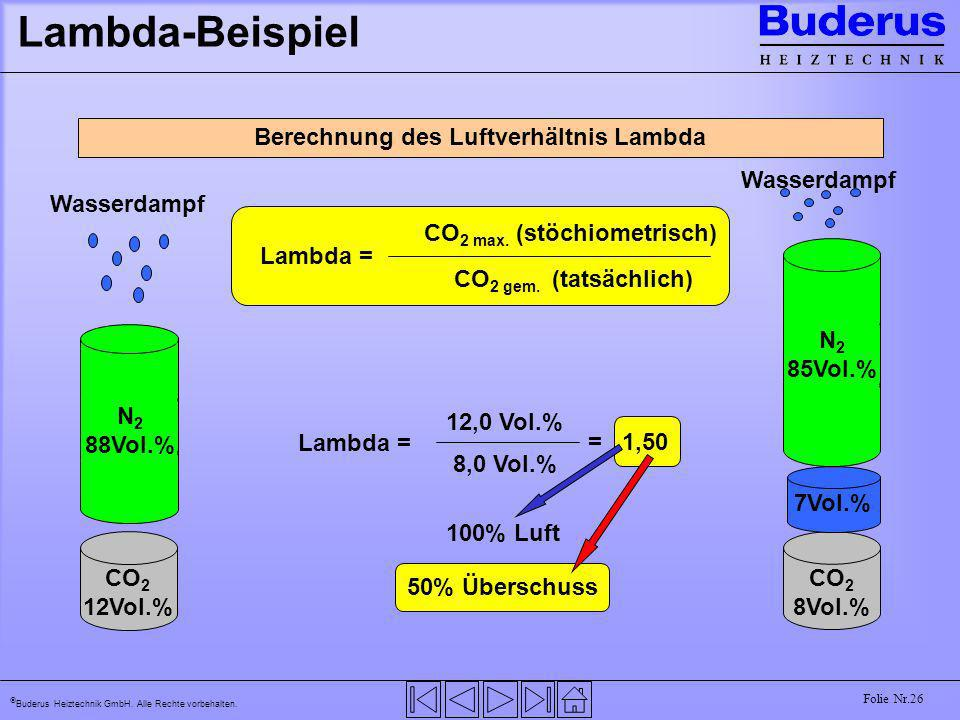 Buderus Heiztechnik GmbH. Alle Rechte vorbehalten. Folie Nr.26 Lambda-Beispiel Berechnung des Luftverhältnis Lambda Wasserdampf CO 2 8Vol.% 7Vol.% N 2