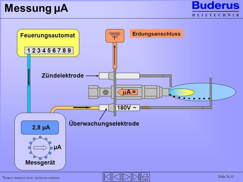 Buderus Heiztechnik GmbH. Alle Rechte vorbehalten. Folie Nr.30 Messung µA Feuerungsautomat 1 2 3 4 5 6 7 8 9 Messgerät µA 2,8 µA Überwachungselektrode