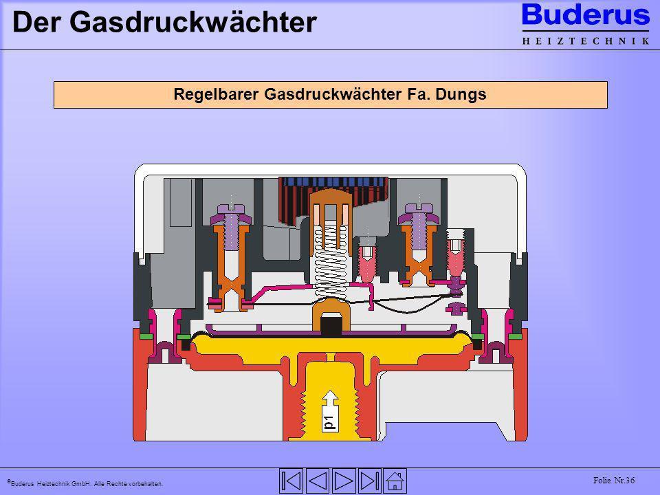 Buderus Heiztechnik GmbH. Alle Rechte vorbehalten. Folie Nr.36 Der Gasdruckwächter Regelbarer Gasdruckwächter Fa. Dungs