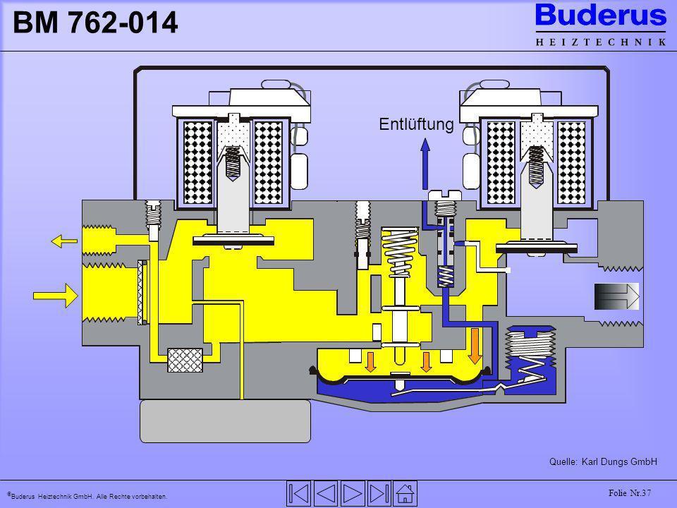 Buderus Heiztechnik GmbH. Alle Rechte vorbehalten. Folie Nr.37 BM 762-014 Quelle: Karl Dungs GmbH Entlüftung