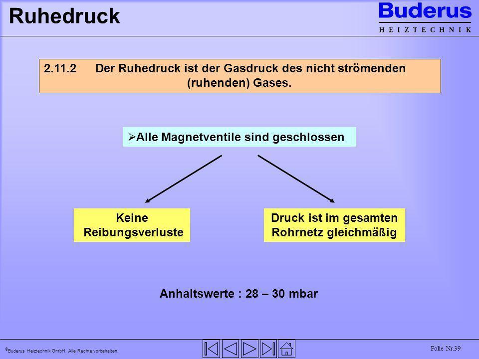 Buderus Heiztechnik GmbH. Alle Rechte vorbehalten. Folie Nr.39 Ruhedruck 2.11.2 Der Ruhedruck ist der Gasdruck des nicht strömenden (ruhenden) Gases.