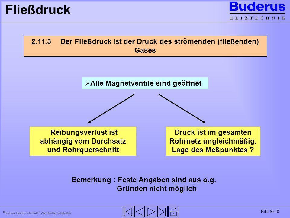 Buderus Heiztechnik GmbH. Alle Rechte vorbehalten. Folie Nr.40 Fließdruck 2.11.3 Der Fließdruck ist der Druck des strömenden (fließenden) Gases Alle M