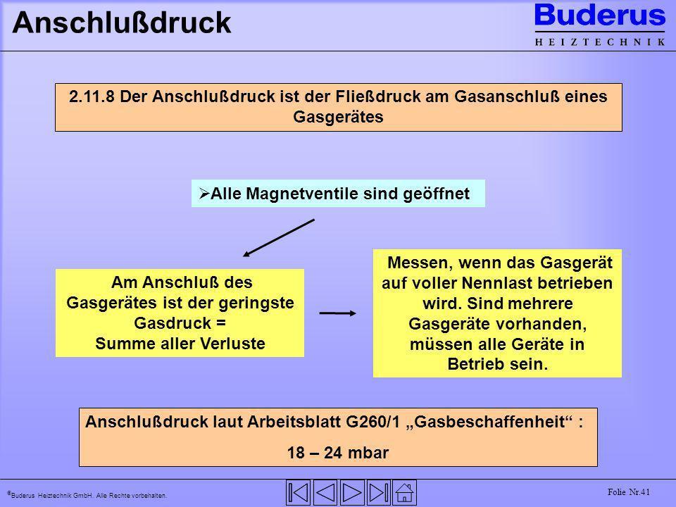 Buderus Heiztechnik GmbH. Alle Rechte vorbehalten. Folie Nr.41 Anschlußdruck 2.11.8 Der Anschlußdruck ist der Fließdruck am Gasanschluß eines Gasgerät