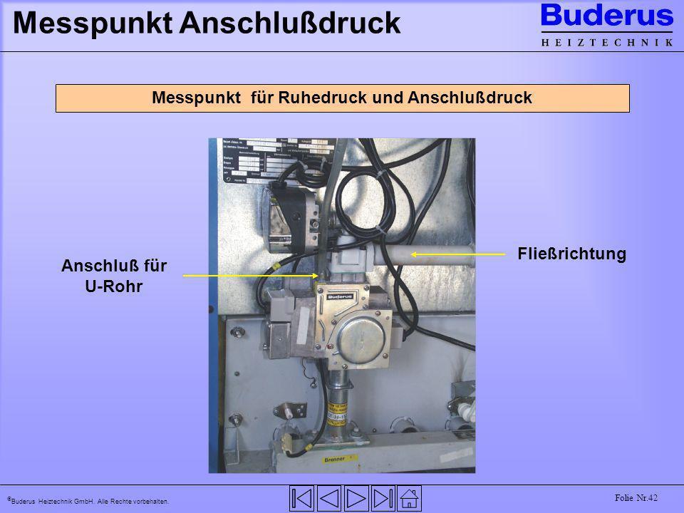 Buderus Heiztechnik GmbH. Alle Rechte vorbehalten. Folie Nr.42 Messpunkt Anschlußdruck Messpunkt für Ruhedruck und Anschlußdruck Fließrichtung Anschlu
