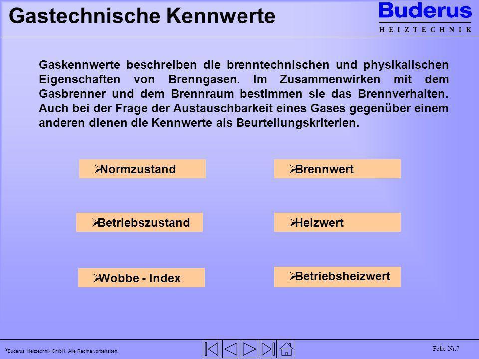 Buderus Heiztechnik GmbH. Alle Rechte vorbehalten. Folie Nr.7 Gastechnische Kennwerte Brennwert Heizwert Normzustand Betriebszustand Wobbe - Index Bet