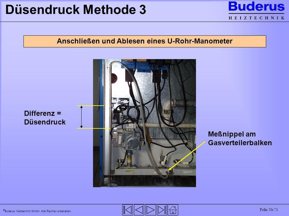 Buderus Heiztechnik GmbH. Alle Rechte vorbehalten. Folie Nr.71 Düsendruck Methode 3 Anschließen und Ablesen eines U-Rohr-Manometer Meßnippel am Gasver
