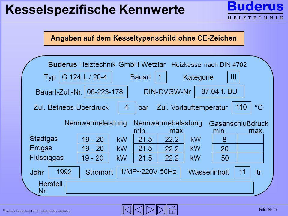 Buderus Heiztechnik GmbH. Alle Rechte vorbehalten. Folie Nr.75 Kesselspezifische Kennwerte Angaben auf dem Kesseltypenschild ohne CE-Zeichen Buderus H