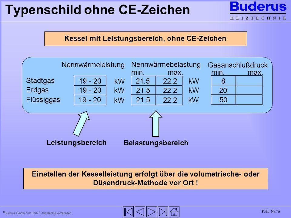 Buderus Heiztechnik GmbH. Alle Rechte vorbehalten. Folie Nr.76 Typenschild ohne CE-Zeichen 19 - 20 21.5 22.2 Nennwärmeleistung Nennwärmebelastung Gasa