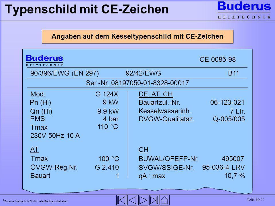 Buderus Heiztechnik GmbH. Alle Rechte vorbehalten. Folie Nr.77 Typenschild mit CE-Zeichen Angaben auf dem Kesseltypenschild mit CE-Zeichen CE 0085-98