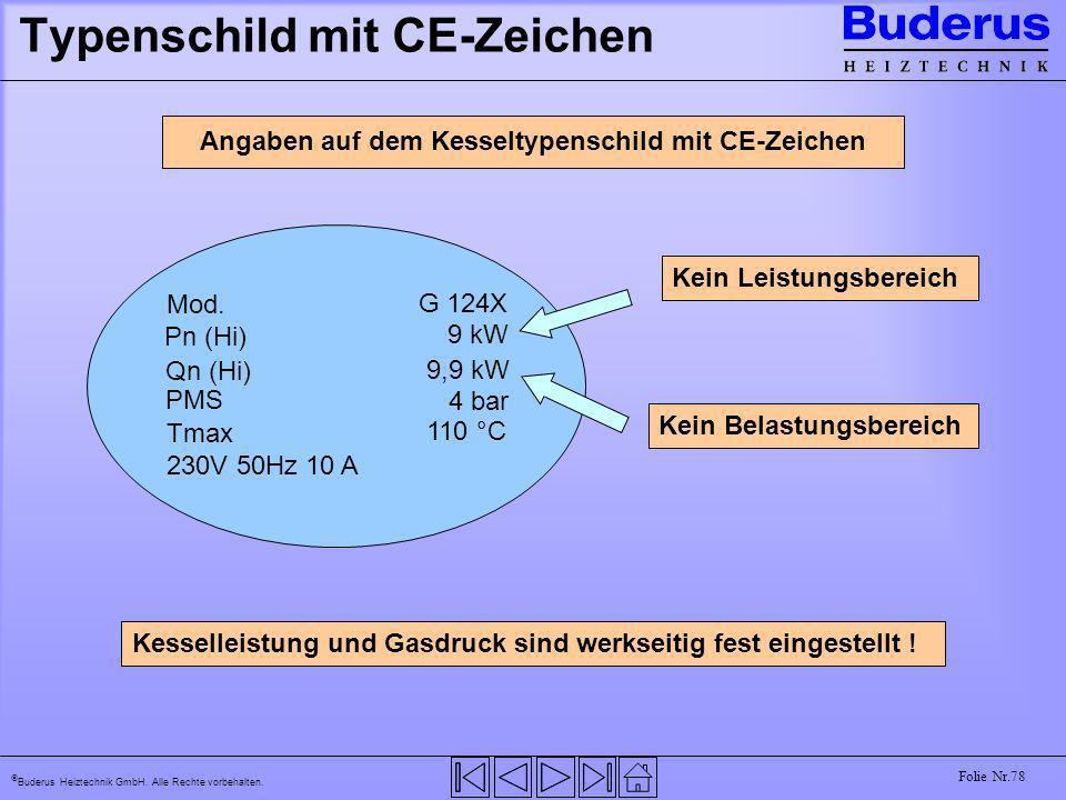 Buderus Heiztechnik GmbH. Alle Rechte vorbehalten. Folie Nr.78 Typenschild mit CE-Zeichen Angaben auf dem Kesseltypenschild mit CE-Zeichen 230V 50Hz 1