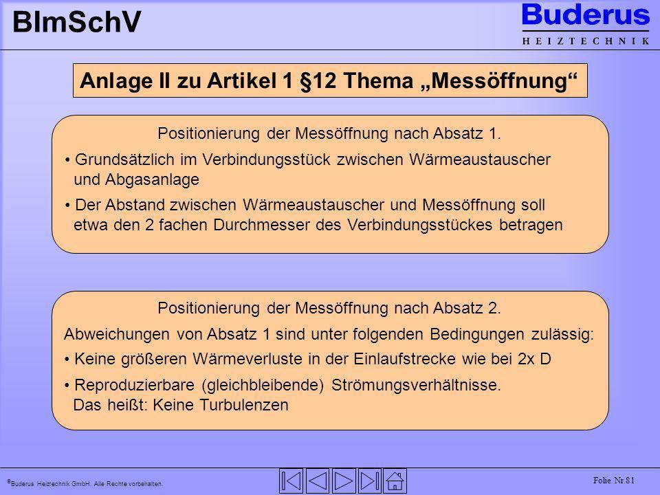 Buderus Heiztechnik GmbH. Alle Rechte vorbehalten. Folie Nr.81 BImSchV Anlage II zu Artikel 1 §12 Thema Messöffnung Positionierung der Messöffnung nac