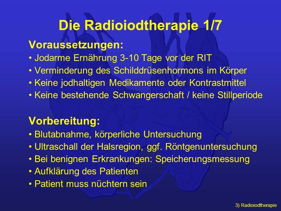 3) Radioiodtherapie Die Radioiodtherapie 1/7 Voraussetzungen: Jodarme Ernährung 3-10 Tage vor der RIT Verminderung des Schilddrüsenhormons im Körper K