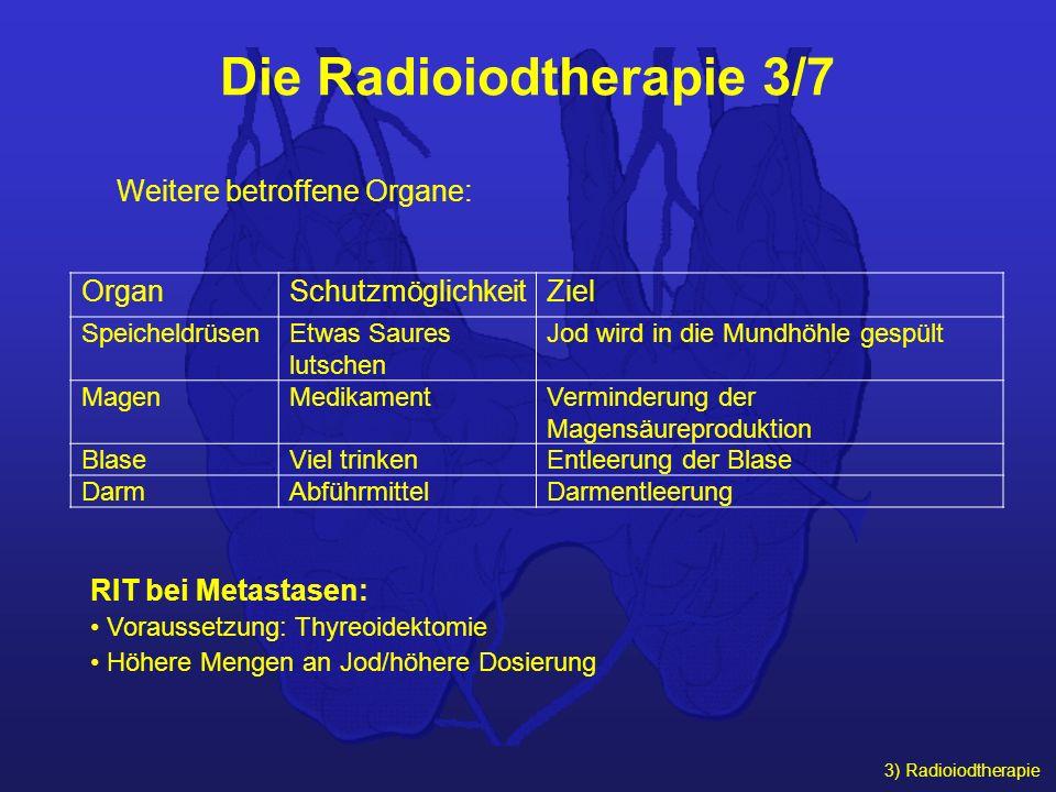 3) Radioiodtherapie Die Radioiodtherapie 3/7 OrganSchutzmöglichkeitZiel SpeicheldrüsenEtwas Saures lutschen Jod wird in die Mundhöhle gespült MagenMed