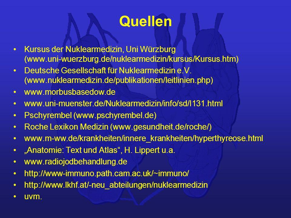 Quellen Kursus der Nuklearmedizin, Uni Würzburg (www.uni-wuerzburg.de/nuklearmedizin/kursus/Kursus.htm) Deutsche Gesellschaft für Nuklearmedizin e.V.