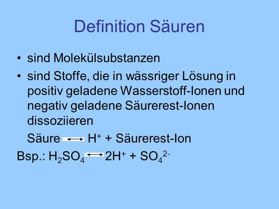 Definition Säuren sind Molekülsubstanzen sind Stoffe, die in wässriger Lösung in positiv geladene Wasserstoff-Ionen und negativ geladene Säurerest-Ion