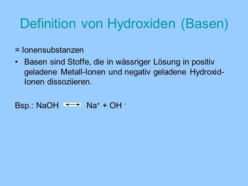Definition von Hydroxiden (Basen) = Ionensubstanzen Basen sind Stoffe, die in wässriger Lösung in positiv geladene Metall-Ionen und negativ geladene H