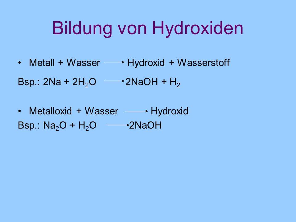 Bildung von Hydroxiden Metall + Wasser Hydroxid + Wasserstoff Bsp.: 2Na + 2H 2 O 2NaOH + H 2 Metalloxid + Wasser Hydroxid Bsp.: Na 2 O + H 2 O 2NaOH