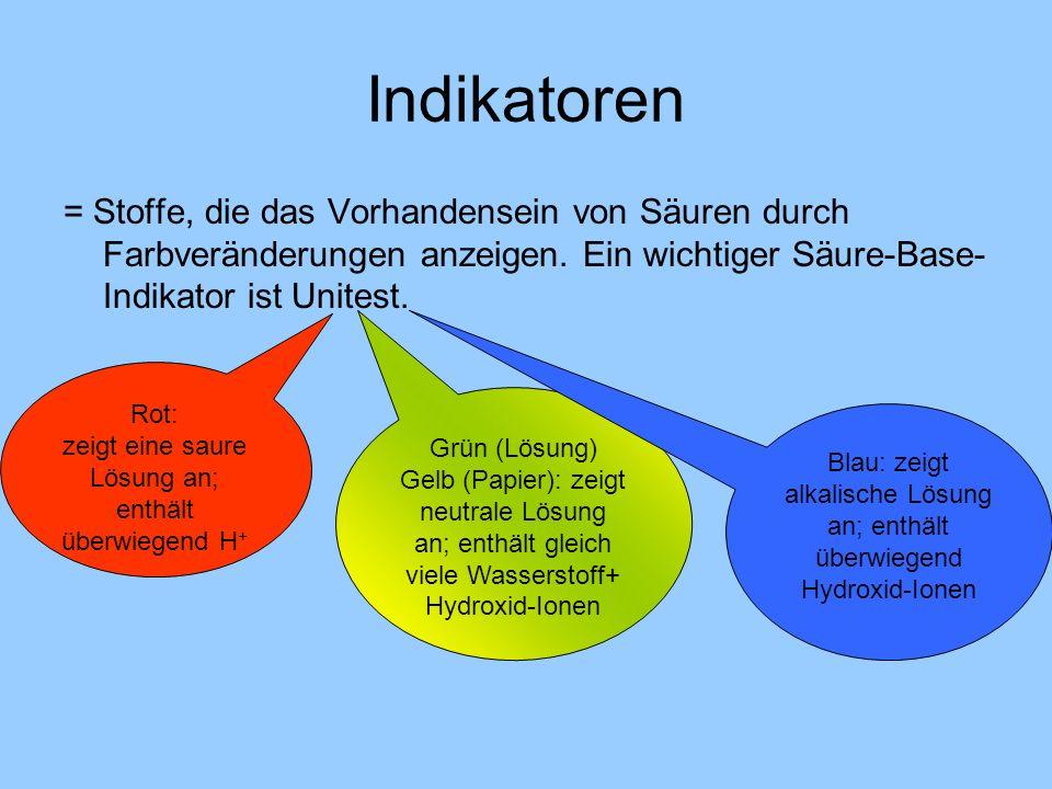 Indikatoren = Stoffe, die das Vorhandensein von Säuren durch Farbveränderungen anzeigen. Ein wichtiger Säure-Base- Indikator ist Unitest. Rot: zeigt e