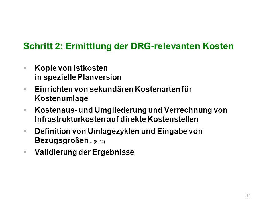 11 Schritt 2: Ermittlung der DRG-relevanten Kosten Kopie von Istkosten in spezielle Planversion Einrichten von sekundären Kostenarten für Kostenumlage