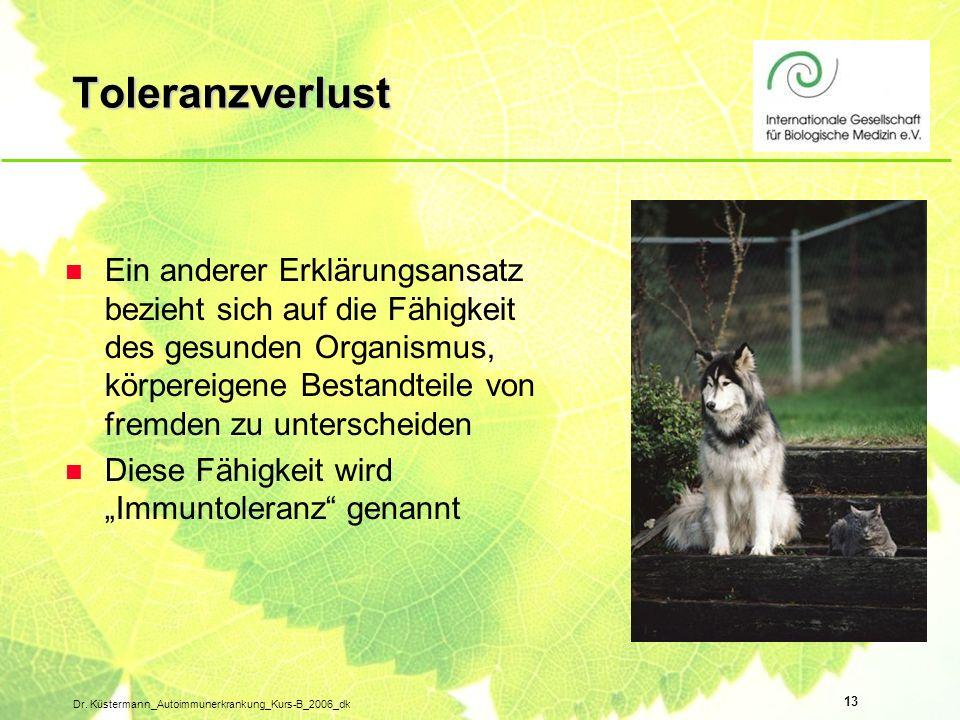 13 Dr. Küstermann_Autoimmunerkrankung_Kurs-B_2006_dk Toleranzverlust n Ein anderer Erklärungsansatz bezieht sich auf die Fähigkeit des gesunden Organi