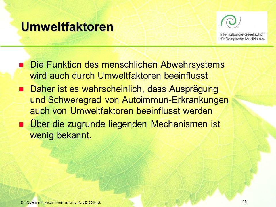 15 Dr. Küstermann_Autoimmunerkrankung_Kurs-B_2006_dk Umweltfaktoren n Die Funktion des menschlichen Abwehrsystems wird auch durch Umweltfaktoren beein