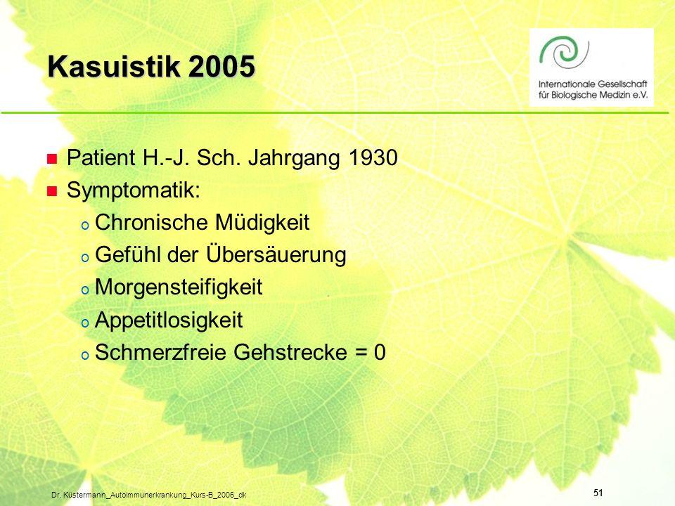 51 Dr. Küstermann_Autoimmunerkrankung_Kurs-B_2006_dk n Patient H.-J. Sch. Jahrgang 1930 n Symptomatik: o Chronische Müdigkeit o Gefühl der Übersäuerun