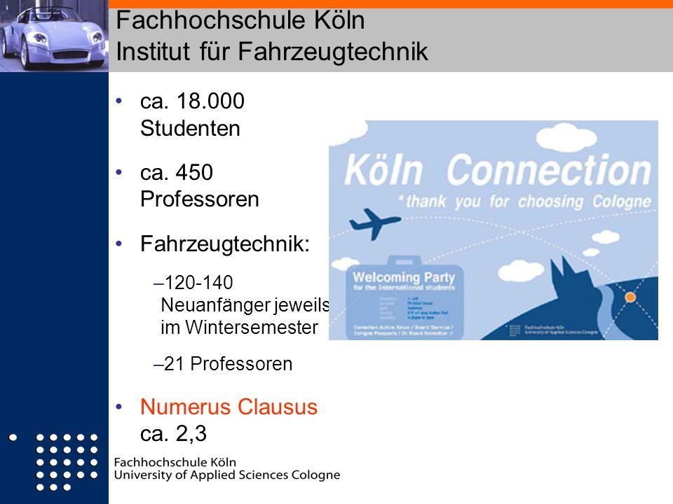Fachhochschule Köln Institut für Fahrzeugtechnik ca. 18.000 Studenten ca. 450 Professoren Fahrzeugtechnik: –120-140 Neuanfänger jeweils im Wintersemes