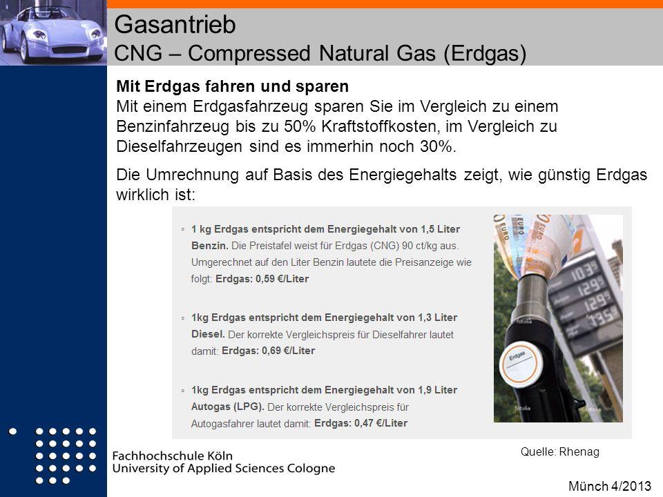 Gasantrieb CNG – Compressed Natural Gas (Erdgas) Mit Erdgas fahren und sparen Mit einem Erdgasfahrzeug sparen Sie im Vergleich zu einem Benzinfahrzeug
