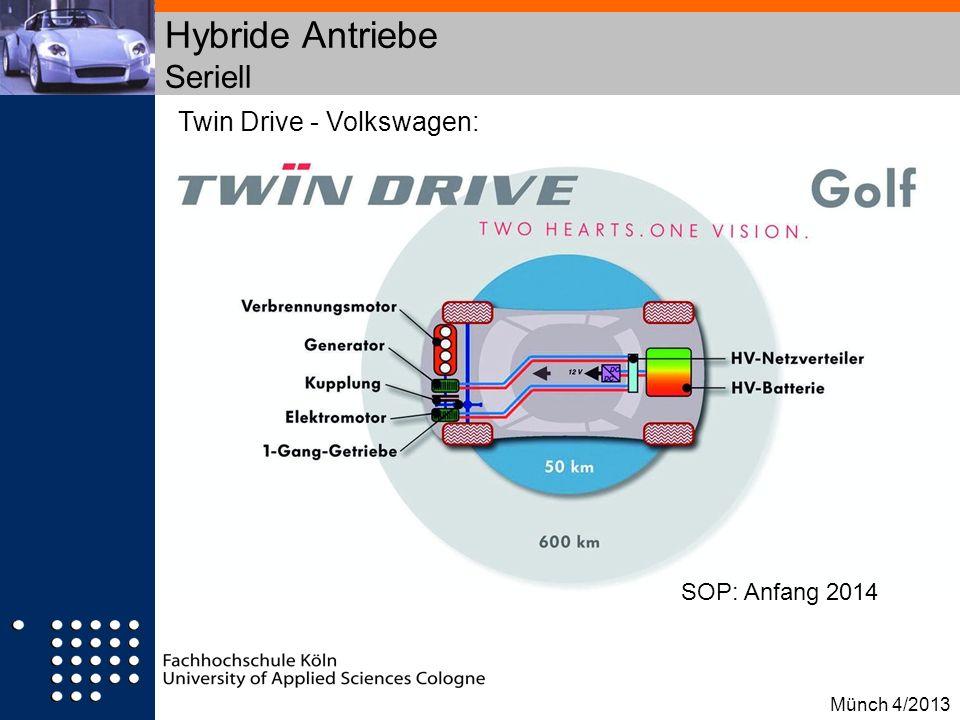 Hybride Antriebe Seriell Twin Drive - Volkswagen: SOP: Anfang 2014 Münch 4/2013