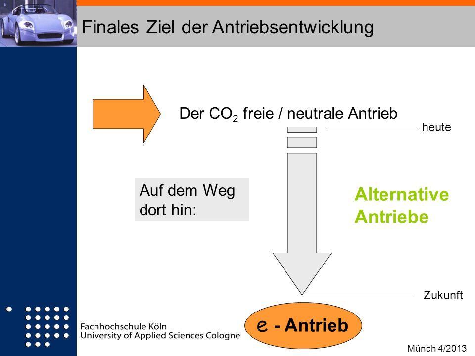 Finales Ziel der Antriebsentwicklung Der CO 2 freie / neutrale Antrieb heute Zukunft Alternative Antriebe e - Antrieb Auf dem Weg dort hin: Münch 4/20