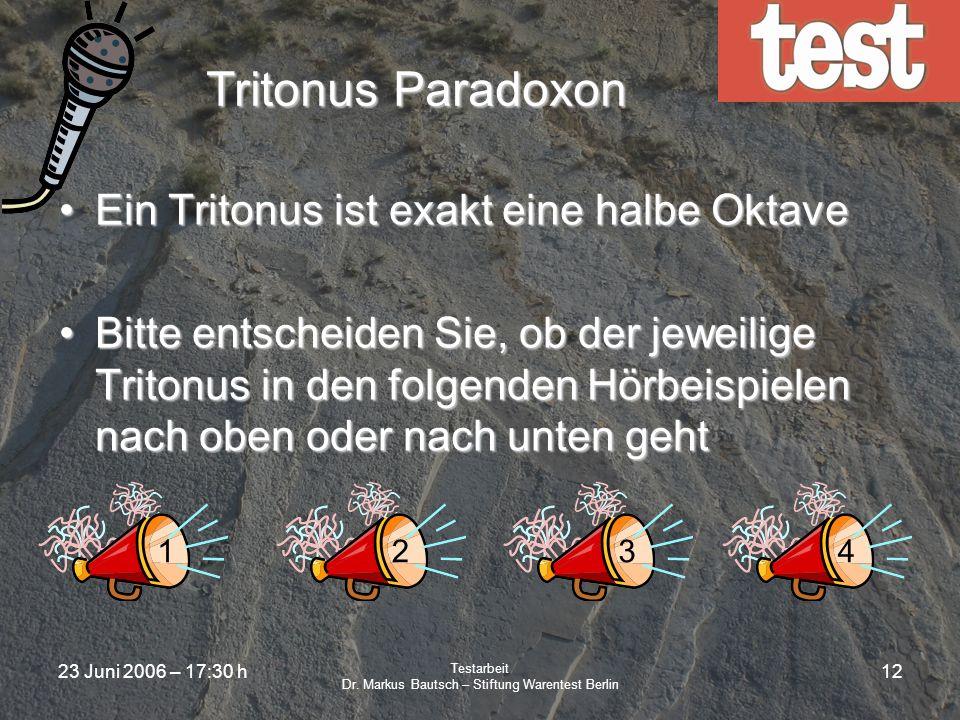23 Juni 2006 – 17:30 h Testarbeit Dr. Markus Bautsch – Stiftung Warentest Berlin 11 Subjektive Testurteile Warum sind subjektive Tests häufig unerläss
