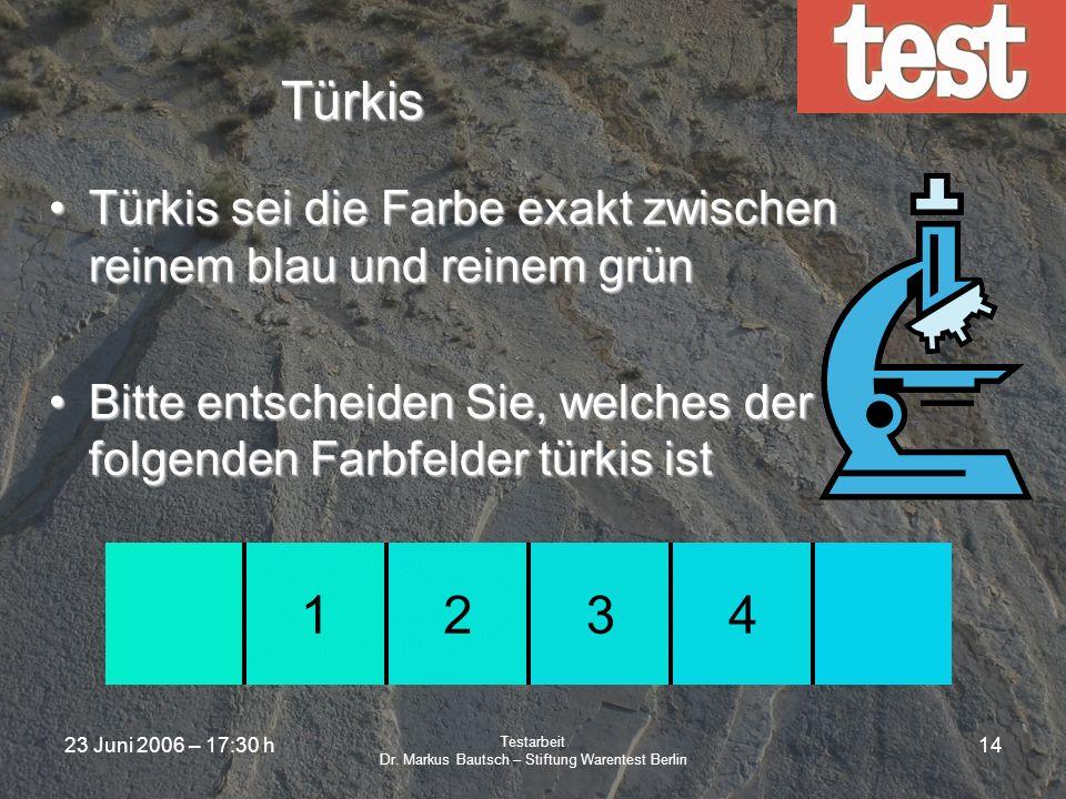 23 Juni 2006 – 17:30 h Testarbeit Dr. Markus Bautsch – Stiftung Warentest Berlin 13 Tritonus Paradoxon Die Unterschiede bei der Rezeption wurden von D
