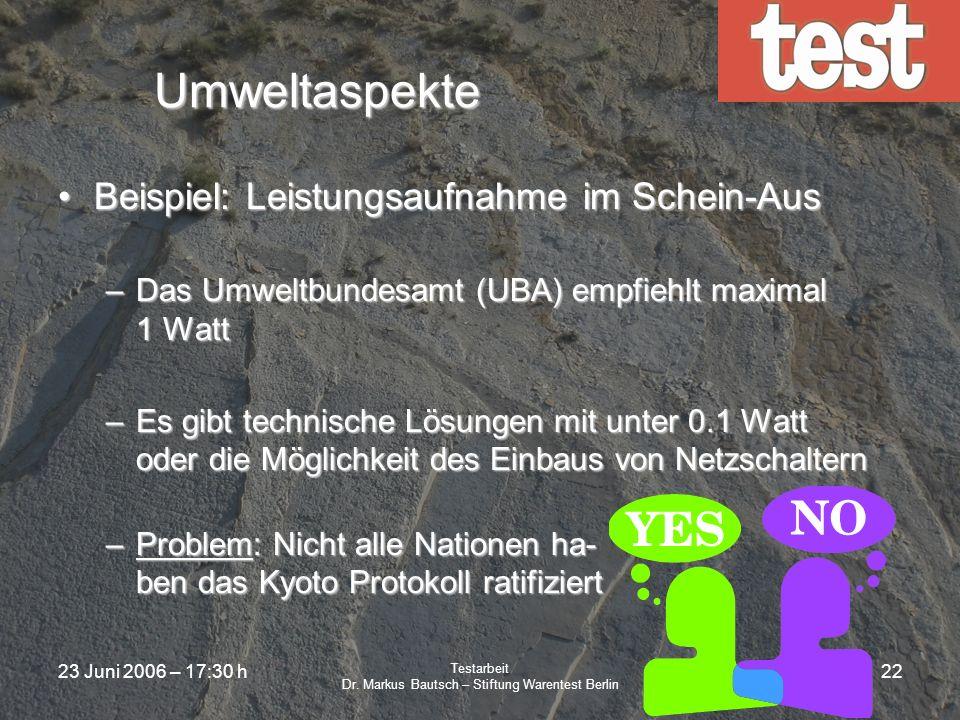 23 Juni 2006 – 17:30 h Testarbeit Dr. Markus Bautsch – Stiftung Warentest Berlin 21 Werbefreiheit Alle Publikationen der Stiftung Warentest sind frei