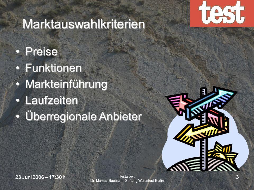 23 Juni 2006 – 17:30 h Testarbeit Dr. Markus Bautsch – Stiftung Warentest Berlin 2 Marktanalyse Eigene RecherchenEigene Recherchen Externe Marktanalys