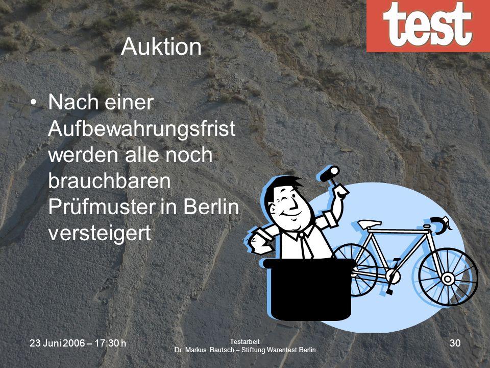 23 Juni 2006 – 17:30 h Testarbeit Dr. Markus Bautsch – Stiftung Warentest Berlin 29 test